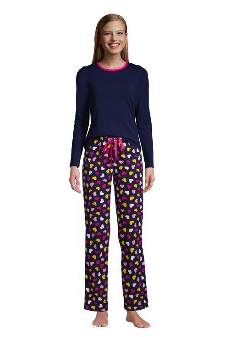 Women's Petite Knit Pajama Set Long Sleeve T-Shirt and Pants