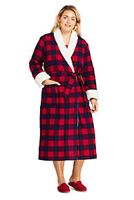 e6d34ef8ed Women s Plus Size Flannel Sherpa Lined Long Robe