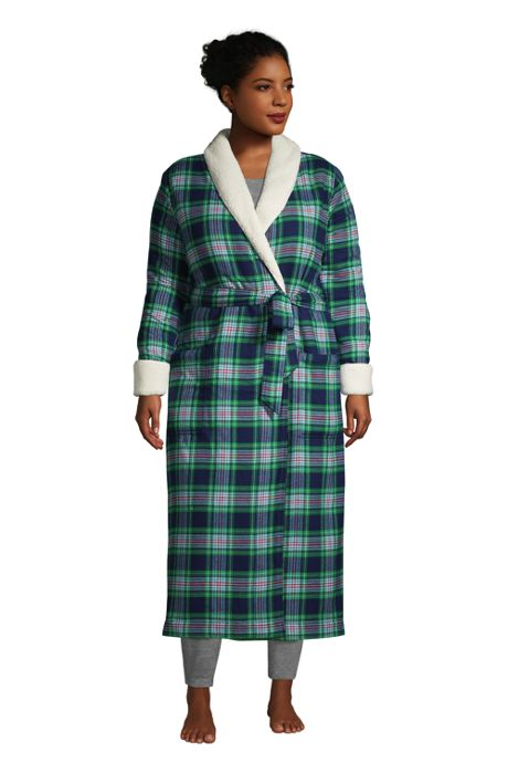 Women's Plus Size Flannel Sherpa Lined Long Robe