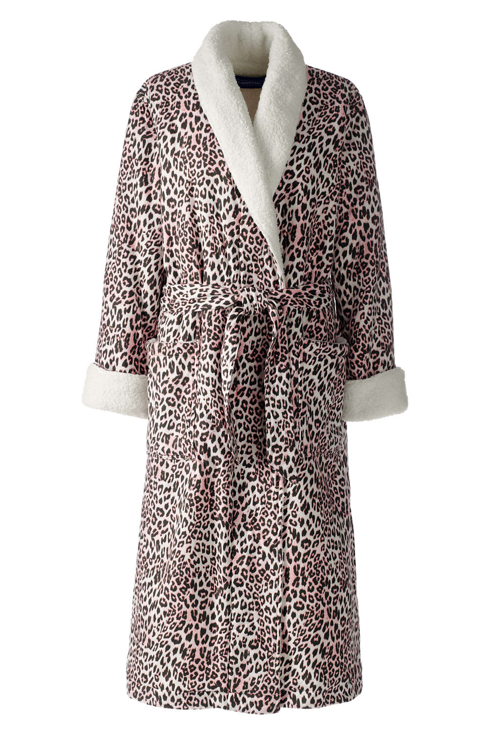 Women s Flannel Sherpa Lined Long Robe from Lands  End 0f38fe227