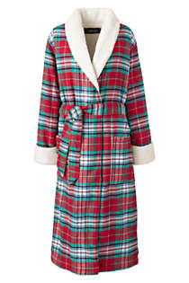 Women's Petite Flannel Sherpa Lined Long Robe, Front