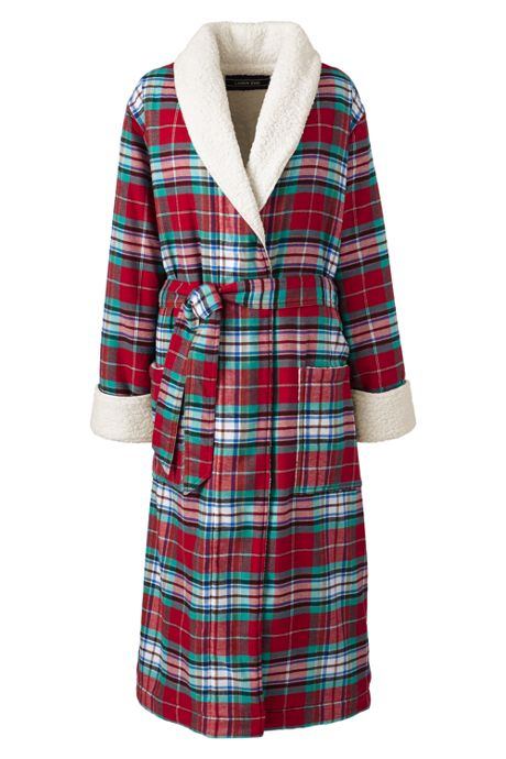 Women's Petite Flannel Sherpa Lined Long Robe