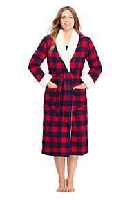 Women s Flannel Sherpa Lined Long Robe 252204994