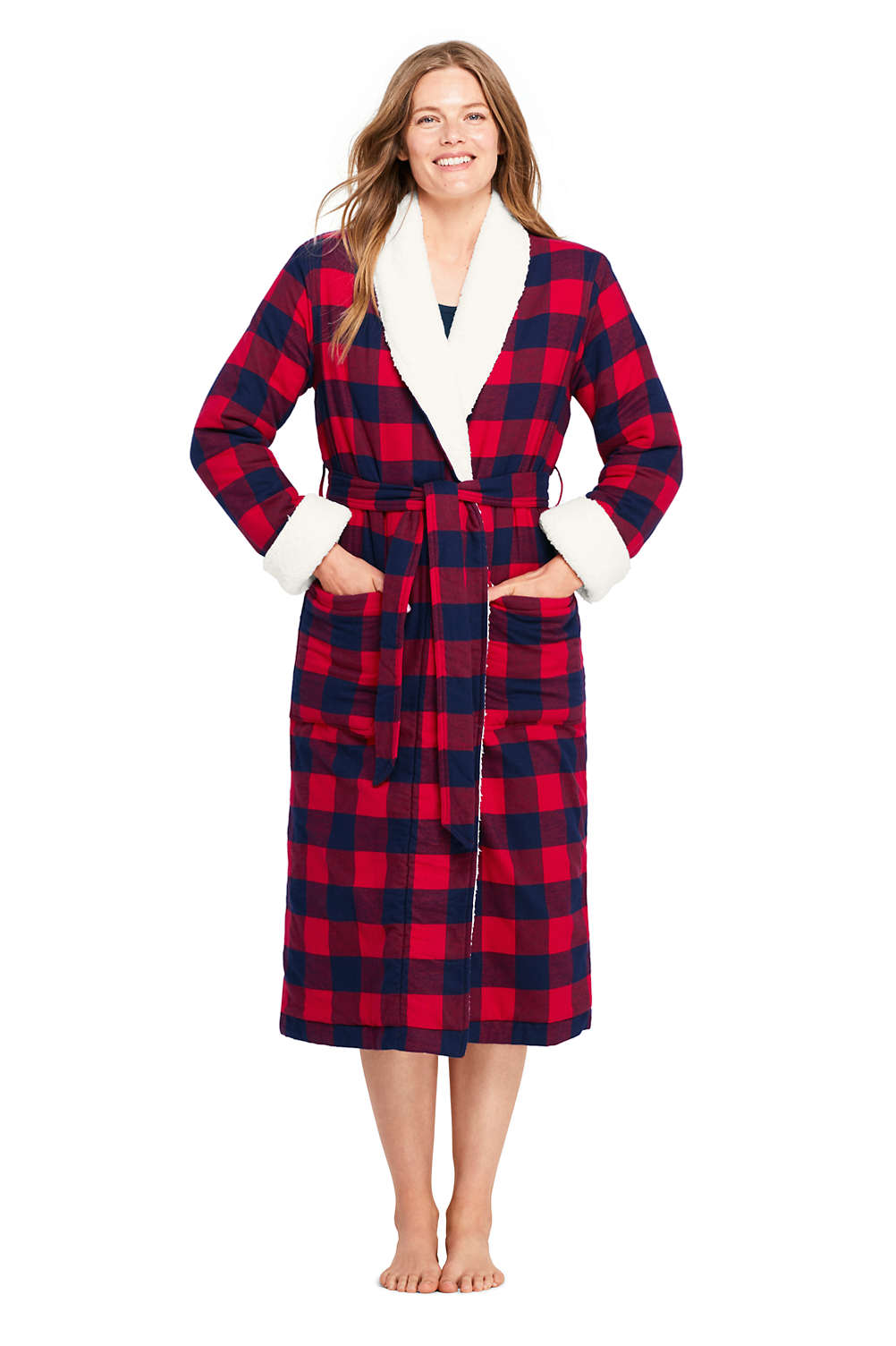 b9d91ceab1 Women s Flannel Sherpa Lined Long Robe from Lands  End