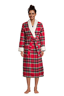 Women's Flannel Robe with Sherpa Fleece Lining