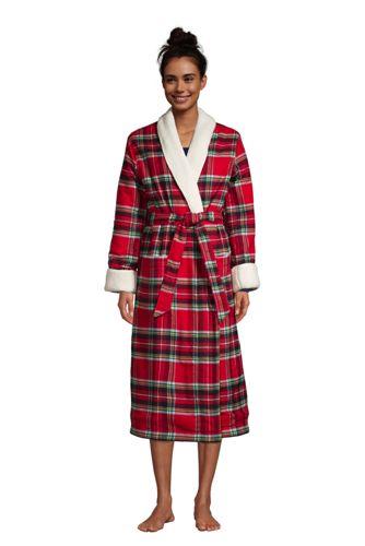 Women's Plus Flannel Robe with Sherpa Fleece Lining