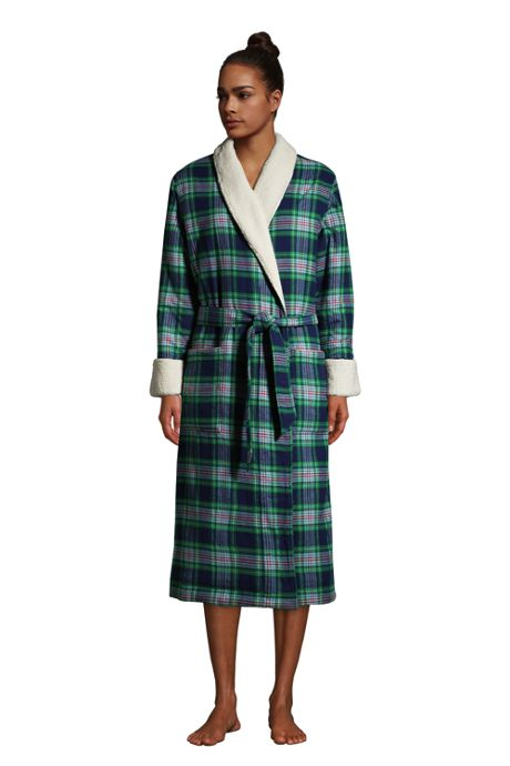 Women's Petite Flannel Sherpa Lined Long Robe