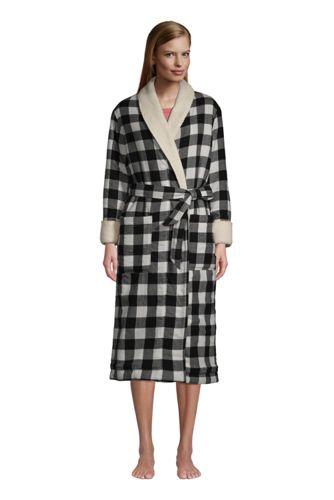 La Robe de Chambre en Flanelle à Carreaux Doublée de Polaire Sherpa, Femme Grande Taille