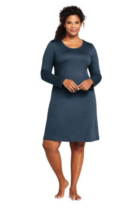 Women's Plus Size Supima Cotton Long Sleeve Knee Length Nightgown