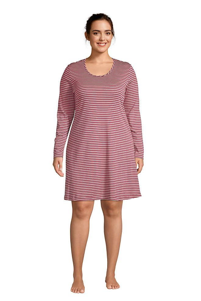 Women's Plus Size Supima Cotton Long Sleeve Knee Length Nightgown , Front