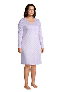 Women's Plus Size Supima Cotton Long Sleeve Knee Length Nightgown , Unknown