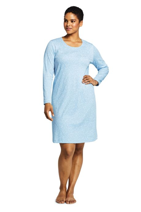 Women's Plus Size Knee Length Supima Cotton Nightgown Print Long Sleeve