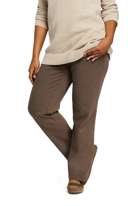 Women's Plus Size Sport Knit Elastic Waist Pants High Rise Jacquard