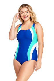 Women's Plus Size Long Chlorine Resistant Square Neck One Piece Swimsuit