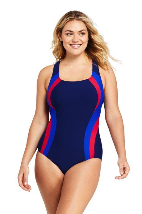 Women's Plus Size Chlorine Resistant Square Neck One Piece Swimsuit