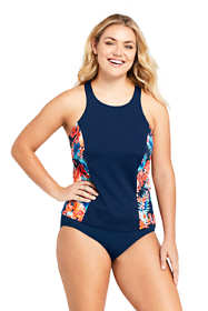 Women's Plus Size Chlorine Resistant High-neck Tankini Top Swimsuit Print