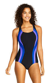 Women's Petite Chlorine Resistant Square Neck One Piece Swimsuit