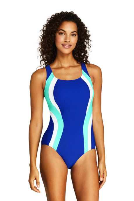Women's Long Chlorine Resistant Square Neck One Piece Swimsuit