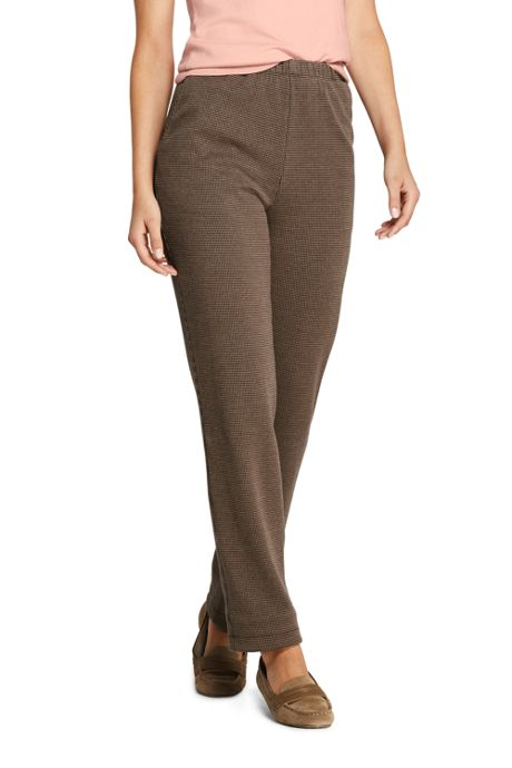 Women's Tall Sport Knit Elastic Waist Pants High Rise Jacquard
