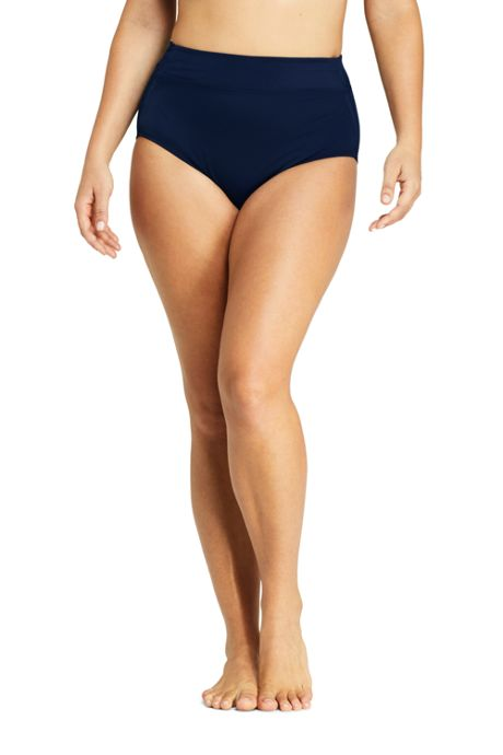 Women's Chlorine Resistant Plus Size High Waisted Bikini Bottoms with Tummy Control