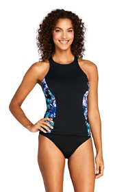 Women's D-Cup Chlorine Resistant High-neck Tankini Top Swimsuit Print