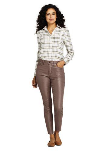 Women's High Rise Slim Straight Leg Ankle Jeans Shimmer Foil