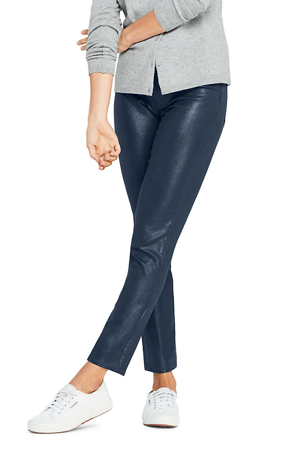 Lands' End Women's High-Rise Slim Straight Shimmer Jeans