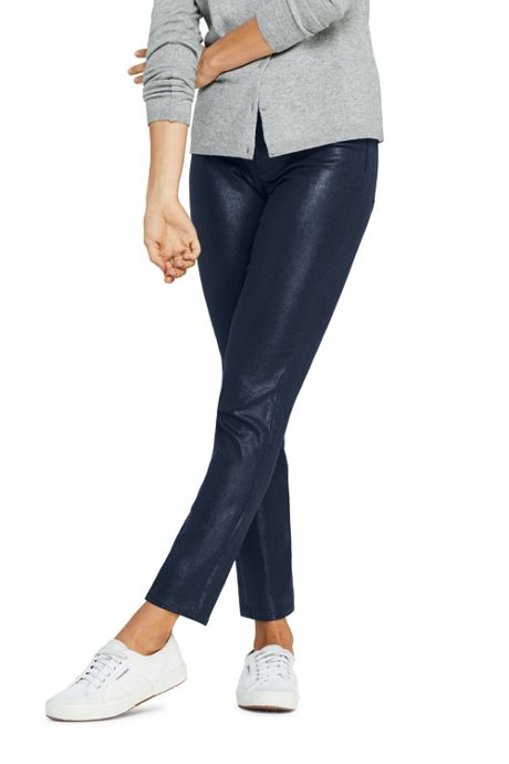 Women's High Rise Slim Straight Leg Ankle Jeans Shimmer Foil