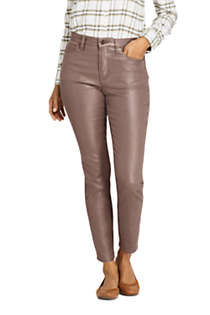 Women's High Rise Slim Straight Leg Ankle Jeans Shimmer Foil, Front