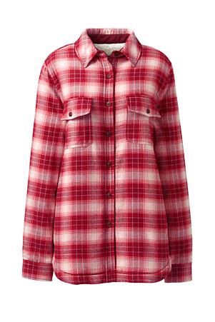 184385158 Women's Sherpa Lined Flannel Shirt | Lands' End