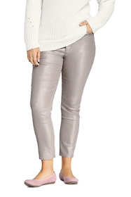 Women's Plus Size High Rise Slim Straight Leg Ankle Jeans Shimmer Foil
