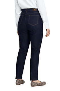 Women's Plus Size High Rise Slim Straight Leg Ankle Jeans - Blue, Back