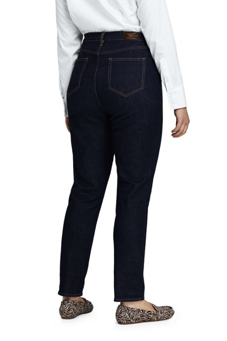 Women's Plus Size High Rise Straight Leg Ankle Crop Jeans - Blue