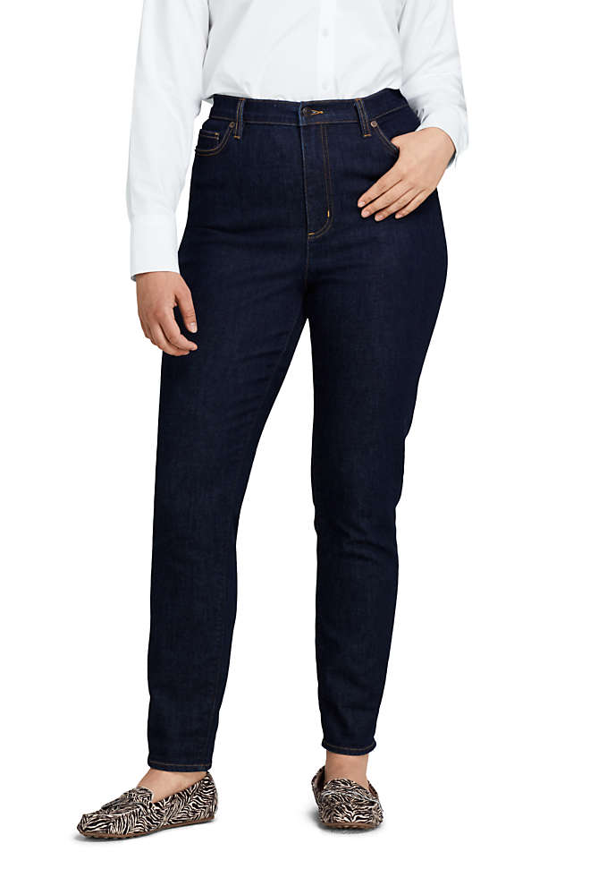 Women's Plus Size High Rise Slim Straight Leg Ankle Jeans - Blue, Front