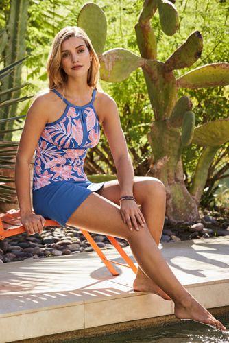 Women's Long Keyhole High Neck Modest Tankini Top Swimsuit Adjustable Straps Print