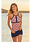 Women's Beach Living Print Keyhole Tankini Top