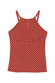 Women's Keyhole High Neck Modest Tankini Top Swimsuit Adjustable Straps Print, Front