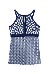 Women's Petite Keyhole High Neck Modest Tankini Top Swimsuit Adjustable Straps Print, Front