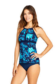 Women's Long Keyhole High Neck Modest Tankini Top Swimsuit Adjustable Straps Print