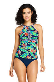 Women's D-Cup Keyhole High-neck Tankini Top Swimsuit Print