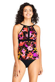 Women's Keyhole High Neck Modest Tankini Top Swimsuit Adjustable Straps Print