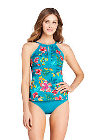 Lands End Womens Petite Keyhole High Neck Modest Tankini Top Swimsuit Adjustable Straps Print 12 Deep Sea//Sealily Floral