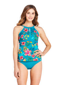 Women's DD-Cup Tummy Control Keyhole High Neck Tankini Top Swimsuit Adjustable Straps Print