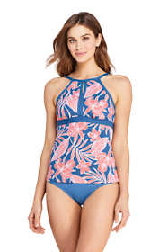 Women's DDD-Cup Tummy Control Keyhole High Neck Tankini Top Swimsuit Adjustable Straps Print