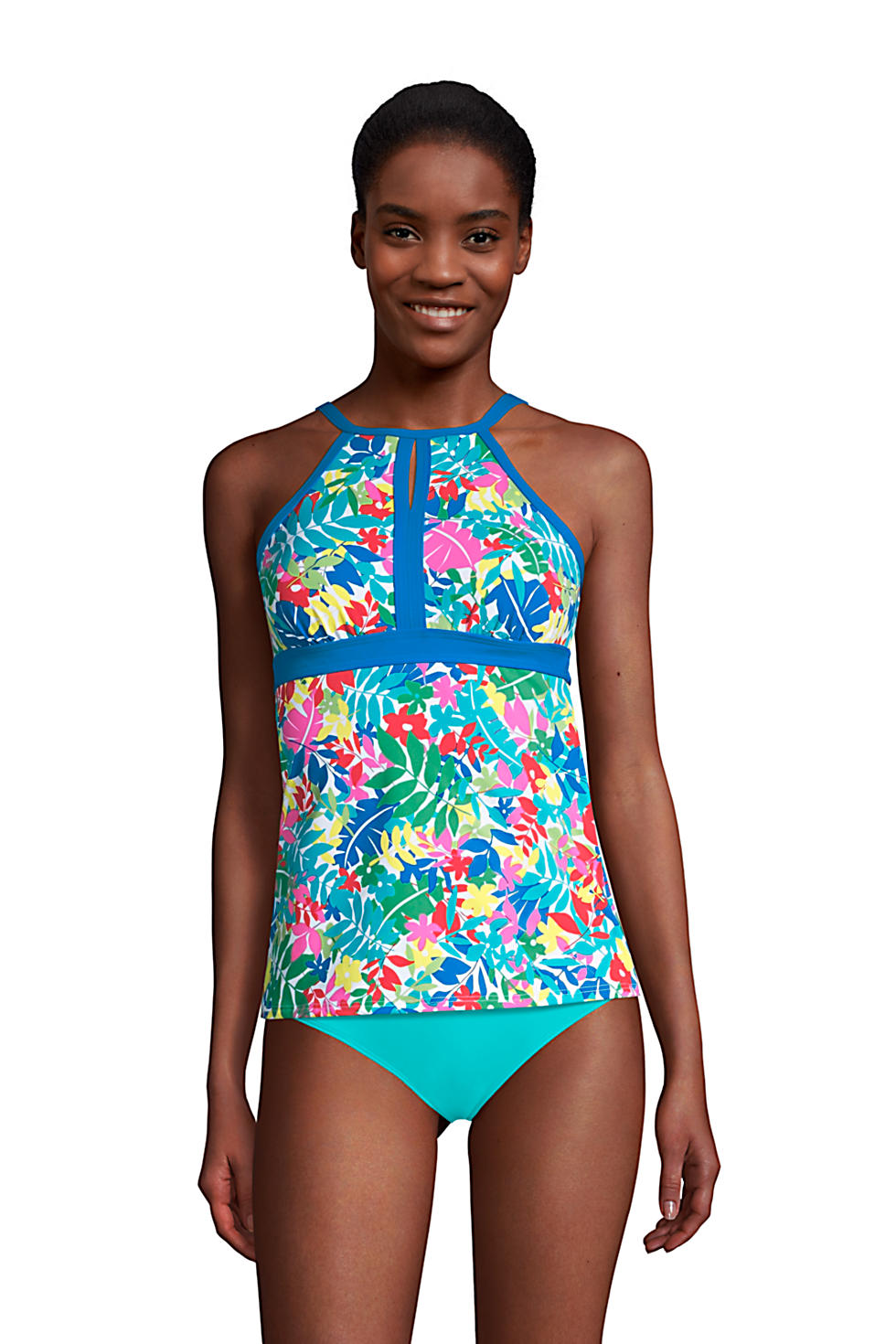 Lands' End Women's Keyhole High Neck Modest Tankini