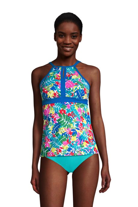 Women's D-Cup Keyhole High Neck Modest Tankini Top Swimsuit Adjustable Straps Print