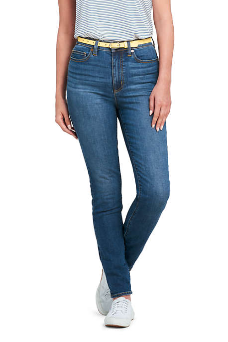 Women's High Rise Slim Straight Leg Ankle Twill Jeans - Black