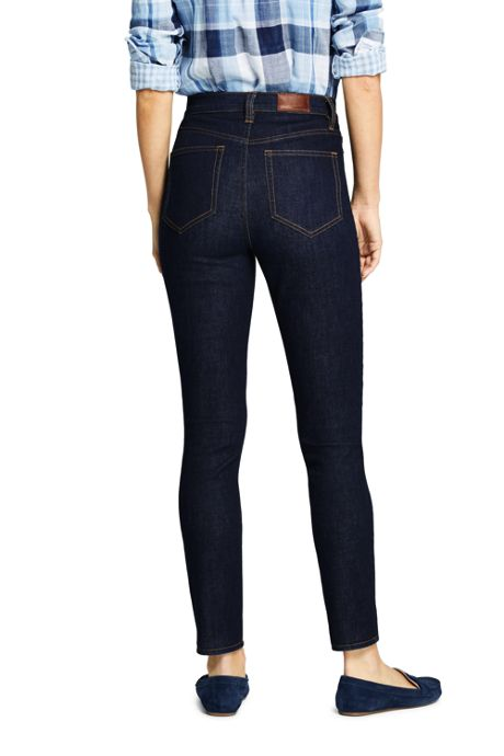 Women's Petite High Rise Straight Leg Ankle Jeans - Blue