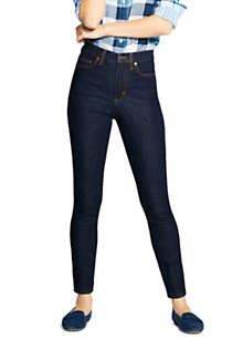 Women's High Rise Straight Leg Ankle Jeans - Blue, Front