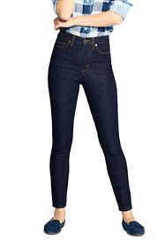 Women's Petite High Rise Slim Straight Leg Ankle Jeans - Blue